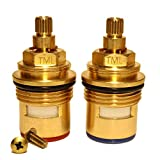 Tap Magician BSP 3/4' Replacement Bath Tap Cartridges Valves Quarter Turn x 53mm x 20 teeth supplied with Solid Brass screws