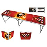 Red Cup Pong Premium High Definition Design 8 Ball Fire Beer Pong Table with Bottle Opener, 8-Feet