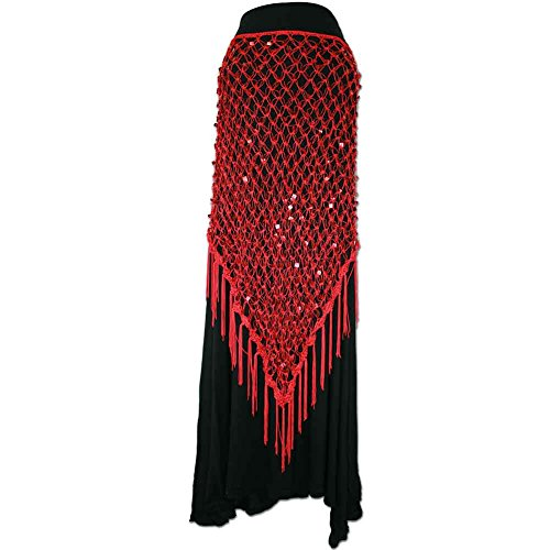 Red Exotic Sequin Crochet Net Triangle Shawl Wrap Belly Dance Hip Scarf