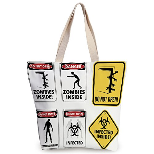 iPrint Stylish Canvas Tote Bag,Zombie Decor,Warning Signs for Evil Creatures Paranormal Construction Do Not Open Artwork,Multicolor,Canvas Shopping bag,shoulder handbags,Shoulder Bag by iPrint