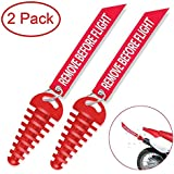 """MELIFE Red 0.6""""-1.5"""" Muffler Exhaust Wash Plug, Motorcycle Dirt Bike 2 Stroke w/Streamer Remove Before Start Engine ATV Quad Rubber Exhaust Silencer -2 Pack"""