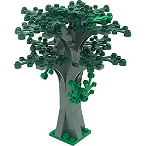 LEGO Custom Creative Tree Kit 4 (Stone Grey with 16 Green and Dark Green Leaves) - 51AjKRhYN6L - LEGO Custom Creative Tree Kit 4 (Stone Grey with 16 Green and Dark Green Leaves)