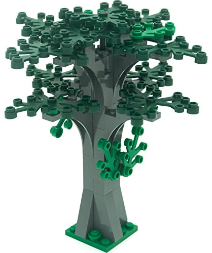 LEGO Custom Creative Tree Kit 4 (Stone Grey with 16 Green and Dark Green Leaves) (Lego Duplo Tray compare prices)