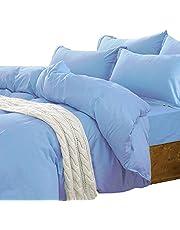 Essina King Quilt Cover Set 3pc Candies Collection, 100% Cotton 620 Thread Count Duvet Cover Set, Pillow Sham, Blue