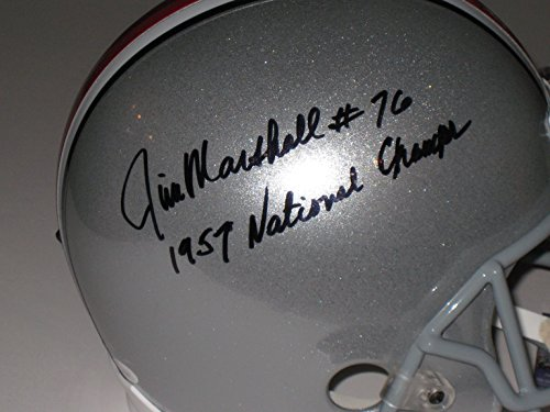 Marshall Minnesota Vikings Autographed Helmet (Jim Marshall #76 signed Ohio State Buckeyes Full Size Replica Helmet - National Champs - JSA Cert)