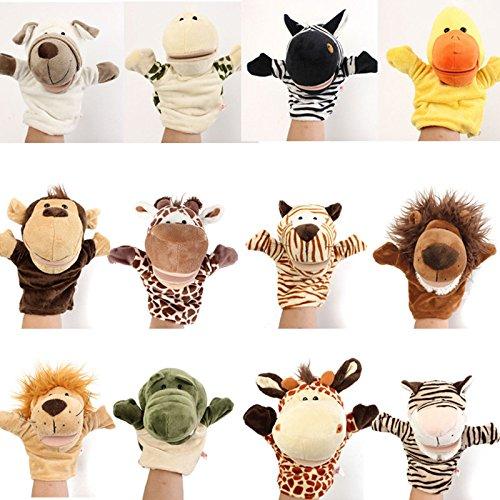 Calli Mignon animal de bande dessinée marionnettes gants enfants de poupée d'enfant de la main doigts velours jouets histoire parlant peluche dire