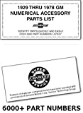 COMPLETE 1971_1972_1973_1974_1975_1976_1977_1978_GM CHEVROLET NUMERICAL ACCESSORY PARTS LIST - OVER 6,000 PART NUMBERS LISTED For Camaro_Caprice_Chevette_Chevrolet_Chevy II_Corvair_Corvette_El Camino_Impala_Malibu_Monte Carlo_Monza_Pickups_Trucks