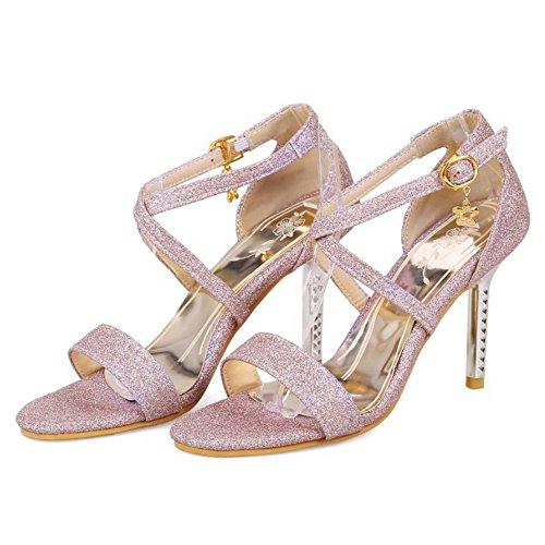 Heel Shoes Sandals Fashion Strap TAOFFEN Toe Ankle Purple High Open Women wzFx4q78
