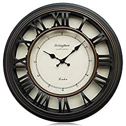 Westzytturm Large Wall Clock 18 inches Modern Art Roman Numeral 3D Wall Clocks Battery Operated Non Ticking Silent Sweep Quartz Movement Decorative for Living Room Bedrooms Office Home Kitchen Black