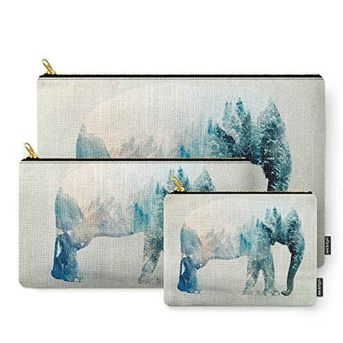 Society6 Vanishing Elephant Carry-All Pouch Set of 3 ()