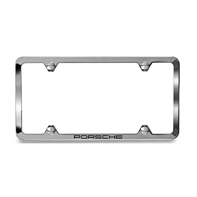 Porsche Polished Stainless Steel Slimline License Plate Frame with Script: Automotive