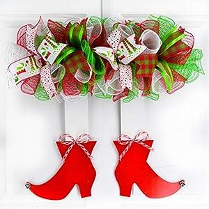 Christmas Holidays Santa Elf Feet Legs Deco Mesh Wood Door Wreath; Red Lime Green White Stripe 45
