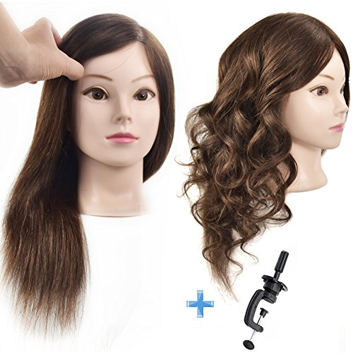 "Cosmetology 100% Human Hair Mannequin Head Manikin Training Head 16"" with Free Clamp"