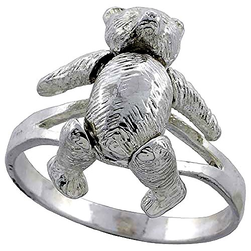 Sterling Silver Movable Teddy Bear Ring for Women 7/8 inch size 9