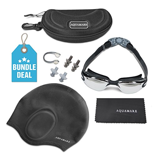 Aquamare Swimming Goggles Bundle with Silicone Swim Cap, Nose Clip, Ear Plugs, Case and Dry Cloth