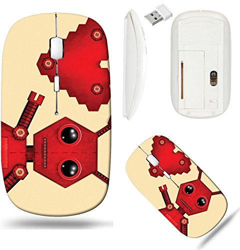 Liili Wireless Mouse White Base Travel 2.4G Wireless Mice with USB Receiver, Click with 1000 DPI for notebook, pc, laptop, computer, mac book Illustration of red valentine robot with heart - Robots Clipart
