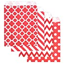 KIYOOMY 100 Pcs Candy Buffet Bags Small Polka Dot Paper Treat Bags (Red and Black, 5 inch X 7 inch) (Red)
