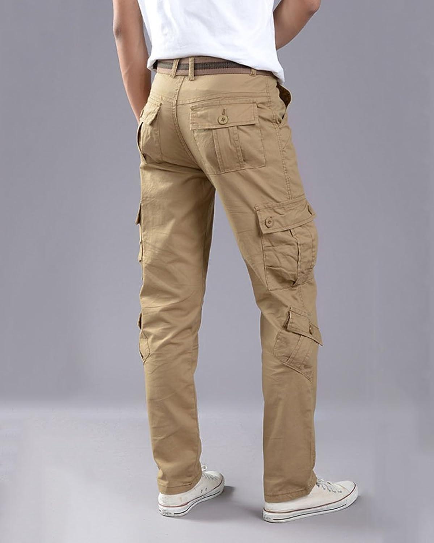 Pantalones Multibolsillos Cargo De Trabajo Para Hombre Outdoor Casuales Pantalones Largos Slim q5codd2A