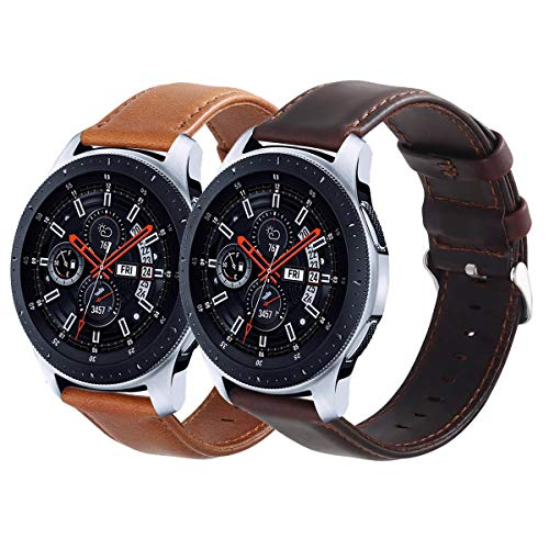 (KADES Galaxy Watch 46mm Bands, Gear S3 Bands, 22mm Leather Replacement Strap with Quick Release Pin Compatible for TicWatch Pro, Amazfit Stratos Smart Watch, Large (Brown and Coffee, Silver Buckle) )