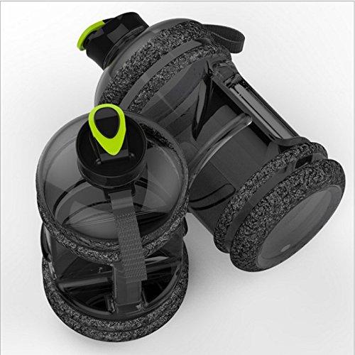 新しい2.2lスポーツ大容量水ボトルジムフィットネスケトルアウトドアキャンプ自転車私の水ボトルスペースボトルShaker BPA B078FYFX44