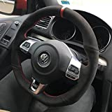 vw r steering wheel - Suede GTI Clubsport Steering Wheel Cover for VW Golf MK6 Scirocco Polo R GTI GLI 2009 + DSG models