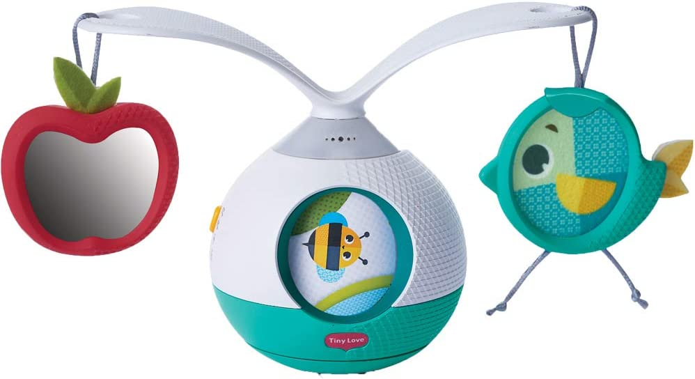 Tiny Love Meadow Days Tummy Time - Movil musical bebe y Juego estimulacion sensorial por extiender tiempo boca abajo, narrador rotativo, musica y sonidos activados por el bebe, helicas giratoria 360°