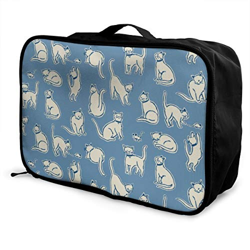 customgogo Cat Travel Luggage Tote, Portable Gym Clothes Storage Bag Carry On Tote Bag with Trolley Sleeve