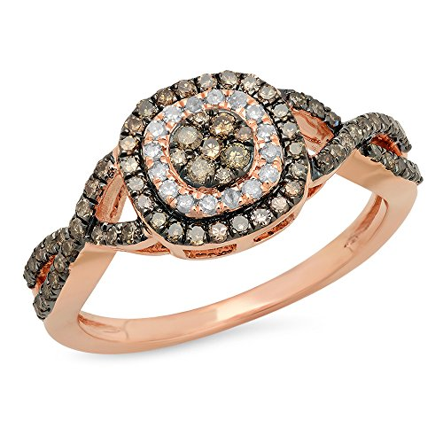 Rose Gold Round Champagne & White Diamond Bridal Engagement Ring (Size 6) (14k Natural Champagne Diamond Ring)