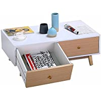 go2buy Modern Storage Rectangular Coffee End Table w/Drawer Solid Wood Legs Center Tables Living Room Furniture White