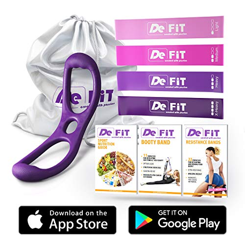 DeFiT Booty Band & Resistance Bands - Perfect Brazilian Butt Lift - Set of 12 inch Exercise Bands with Booty Bands for Women + Carry Bag & Two Exercise eBooks + Nutrition Guide as Bonuses