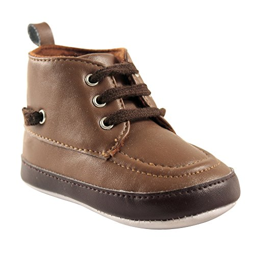 Luvable Friends Boys' High Top Boat Crib Shoe, Brown, 6-12 Months M US (High Top Baby Booties)
