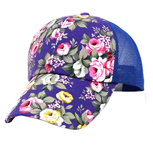 Haoricu Baseball Hat, Fashion Boys Girls Snapback Embroidery Cotton Baseball Cap Hip Hop Flat Hat (Blue)