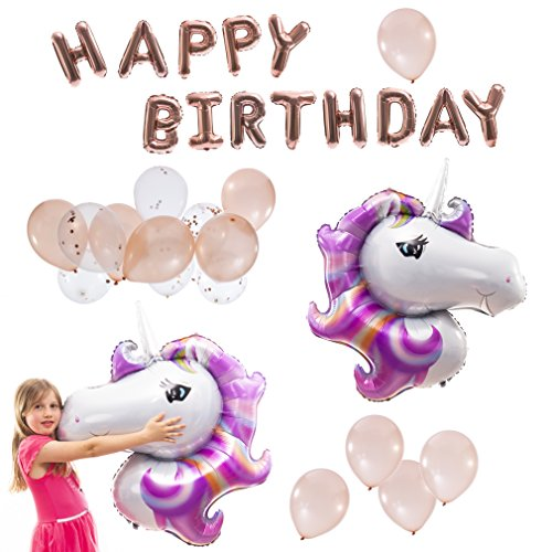 My Party Fun Rose Gold Balloon Decorations for Unicorn Birthday Party! 2 Unicorn Foil Balloons 46, 1 Happy Birthday Balloon Banner 18, 6 Confetti Balloons 12 and 10 Latex 12 Balloons!