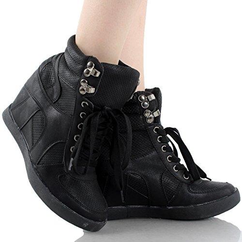 Top Moda Eric-8 Höga Topp Snörning Kvinna Kil Sneakers Svart 9