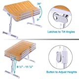 Adjustable Laptop Table, Superjare Portable Standing Desk, Notebook Stand Reading Holder For Couch Floor, Bed Tray Table with Foldable Legs - Bamboo Wood Grain