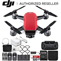 DJI Spark Portable Mini Drone Quadcopter Fly More Combo Virtual Reality VR FPV POV Experience Ultimate Bundle (Lava Red)