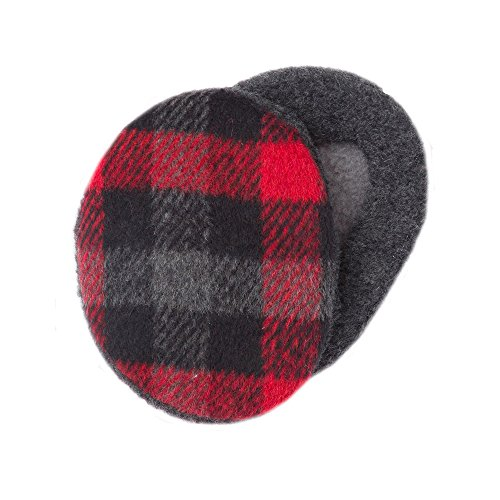 (Sprigs Earbags Bandless Ear Warmers/Earmuffs with Thinsulate (Medium, Plaid Black/Red) )