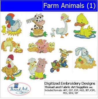 (Threadart Machine Embroidery Designs - Farm Animals(1) - USB Stick)