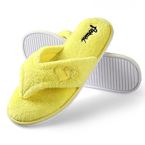 Aerusi Ladys Cute Home Slipper Comfy Soft Sole Indoor Slaapkamer Slippers Classy Spa Open Teen Slide Slipper Geel