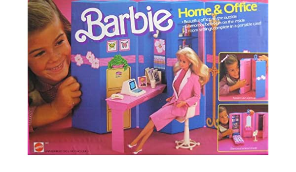 Barbie Home Office Play Set 2 Room Setting With Portable Case