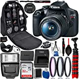 Canon EOS Rebel T7 DSLR Camera with 18-55mm Lens(2727C002 USA) Professional Bundle Package Deal - 2727C002 - USA Warranty - SanDisk Ultra 32GB SDHC Memory Card + Professional Backpack + More
