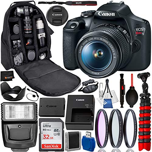 Canon EOS Rebel T7 DSLR Camera with 18-55mm Lens(2727C002 USA) Professional Bundle Package Deal – 2727C002 – USA Warranty – SanDisk Ultra 32GB SDHC Memory Card + Professional Backpack + More