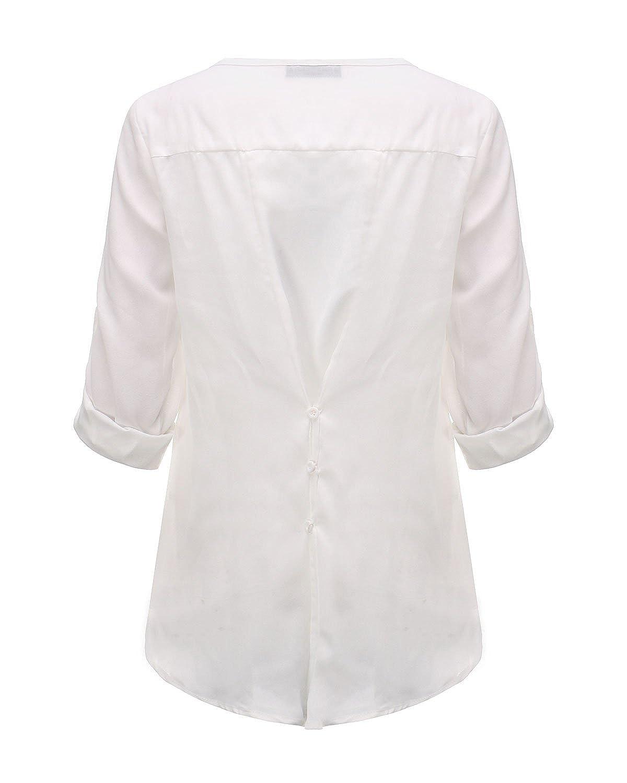 ZANZEA Maglie Donna Bluse e Camicie Magliette Manica Lunga V-Collo Casual Elegante Shirt Top Bello