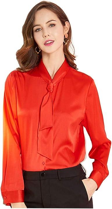 Caída Seda de la Manera Informal de Manga Larga Camisa de Seda Mujeres, Rojo, XXL: Amazon.es: Ropa y accesorios