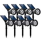 GOBULB Outdoor Solar Spot Lights | 8 Pack Waterproof Solar Spot Lights | Adjustable Wall & in-Ground Solar Lights | Auto On-Off Landscape Light | Perfect Security Lights for Yard Garden Driveway Pool Review