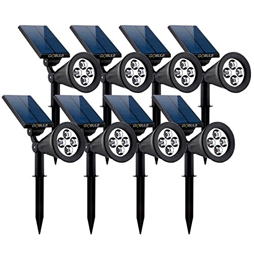 Cheap GOBULB Outdoor Solar Spot Lights | 8 Pack Waterproof Solar Spot Lights | Adjustable Wall & in-Ground Solar Lights | Auto On-Off Landscape Light | Perfect Security Lights for Yard Garden Driveway Pool