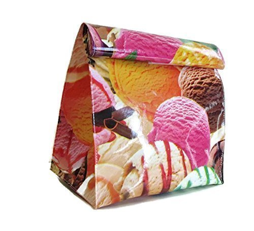 Oilcloth Lunch Snack Bag Ice Cream Theme Reusable