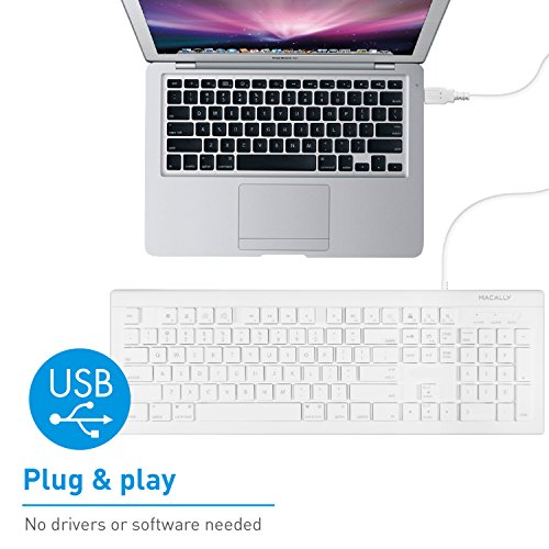 51AjOXQeHNL - Macally Full Size USB Wired Keyboard (MKEYE) for Mac and PC (White) w/ Shortcut Hot Keys