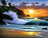 Modern Abstract Oil Painting on Canvas Wall Art Home Decoration Paciffic Ocean Seascape Beach Seashore Big Wave Palm Tree Sunset (20 x 24 Inch (51 x 61 CM))