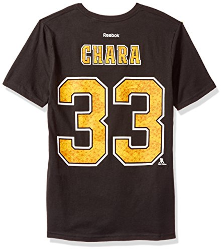 NHL Boston Bruins Chara Z Boys Fractal Camo Player Short Sleeve Tee, Medium/(10-12), Black